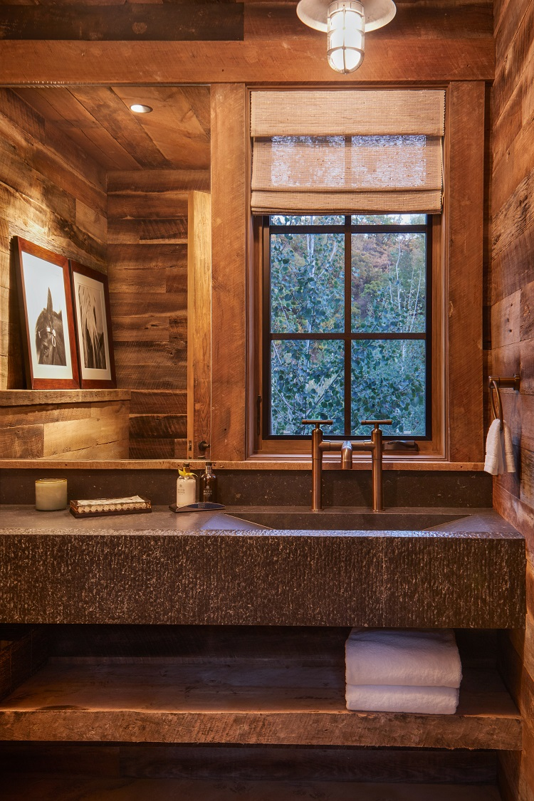 bathroom of a luxury ranch in aspen, colorado